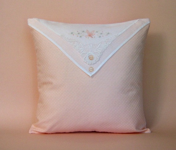 "Nursery Pillow Cover -- Vintage Dotted Swiss -- Peach --  Butterfly Embroidery and Lace -- 12"" x 12"""