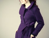 Eggplant Wool Fully Lined High Neck Winter Coat with Adjustable Sleeve Detail