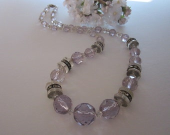 Vintage Deco Glass Bead and Rhinestone Necklace