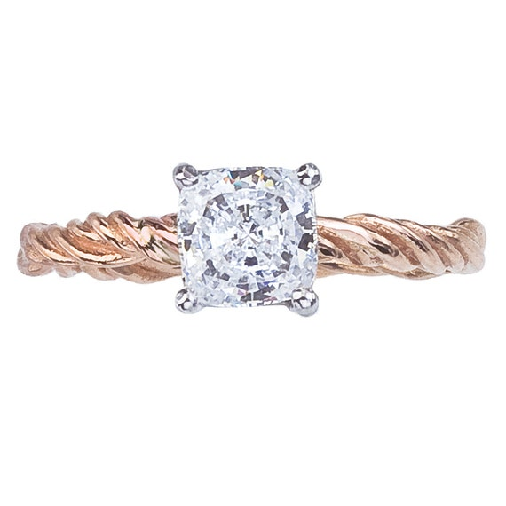 Items similar to Cushion Cut Rose Gold Diamond Ring Nature Inspired Engagem