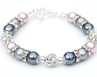Pastel Jewelry, Gray Silver and Pale Pink Pearl Rhinestone Jewelry, Spring Wedding, Bling Bracelet, Pastel Wedding, Bridesmaid Jewelry