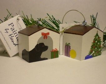 LAB Doghouse ornament, Black, Yellow or Chocolate, Hand Painted
