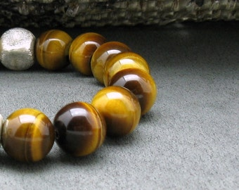 Honey Yellow Tiger Eye Modern Beaded Bracelet, Luxe Unisex, Geometric, For Her or Him Under 125