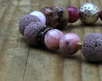 Plum Pink Boho Beaded Bracelet, Organic Berry Pink Stretch Bracelet,  Asymmetrical, For Her Under 175