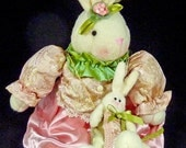 Vintage stuffed Easter Bunny Mommy with baby pink & green lace brocade plush toy
