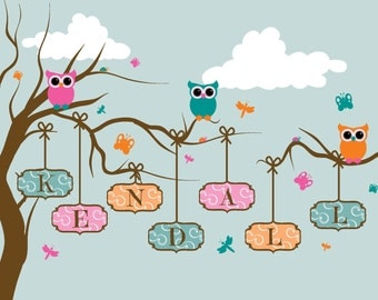 "Custom ""Kendall"" Owls in Tree print, digital, download"