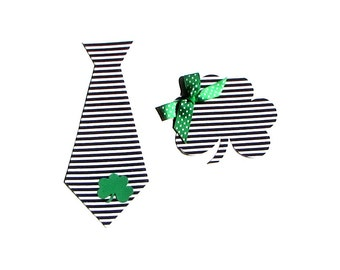St. Patrick's Day//Shamrock & Tie Set//Fabric Iron On Appliques//Twins//Brother//Sister//Sibling//Photo Prop
