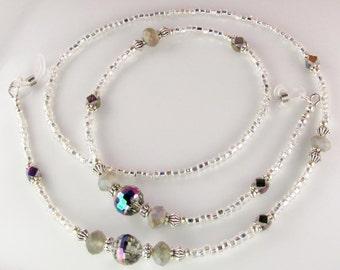 Mirror Ball Eyeglasses Leash CRYSTAL LUSTER Glass Beaded Eyeglasses chain