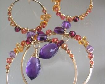 Sapphire Gold Filled Hoops, Double Hoop Earrings, Amethyst Chandelier Earrings, Wire Wrapped, Statement Hoops, Dramatic, Original Design