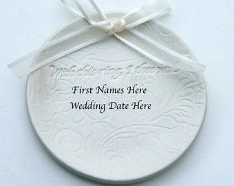 "Porcelain Personalized wedding ring dish, Custom Made with Names and Date, "" With This Ring I Thee Wed"" Lacy Background"