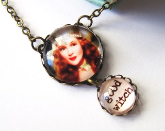 Good Witch Wizard of Oz Antique Brass Necklace
