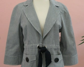 Denim and White Seersucker Tie Front Draw String Blazer Large Buttom Pockets Size Small