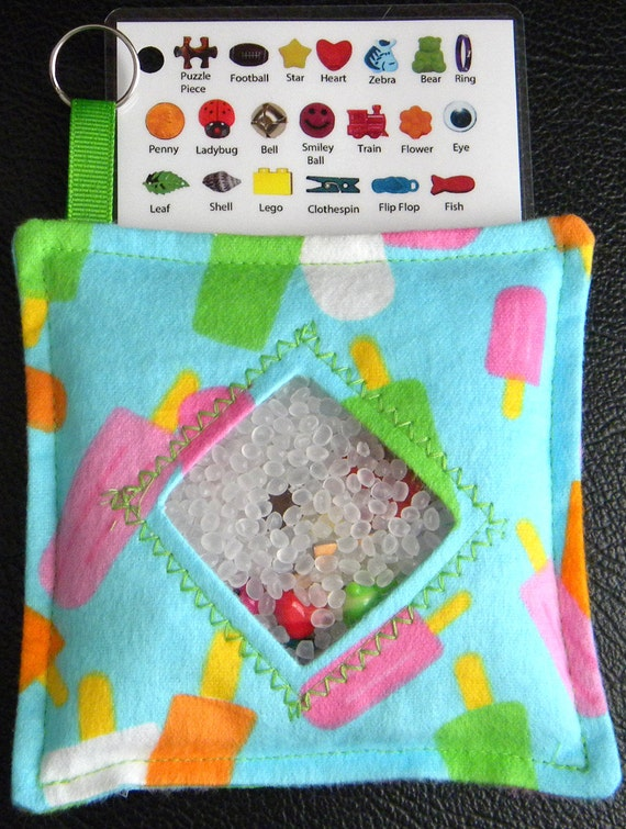 I Spy Bag - Mini with SEWN Word List and Detachable PICTURE LIST- Popsicles