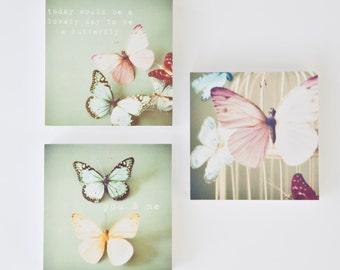 Butterfly photo block set, butterfly decor, pastel pink, nursery wall art, girls room decor, yellow, pastel blue - The Pastel Butterflies