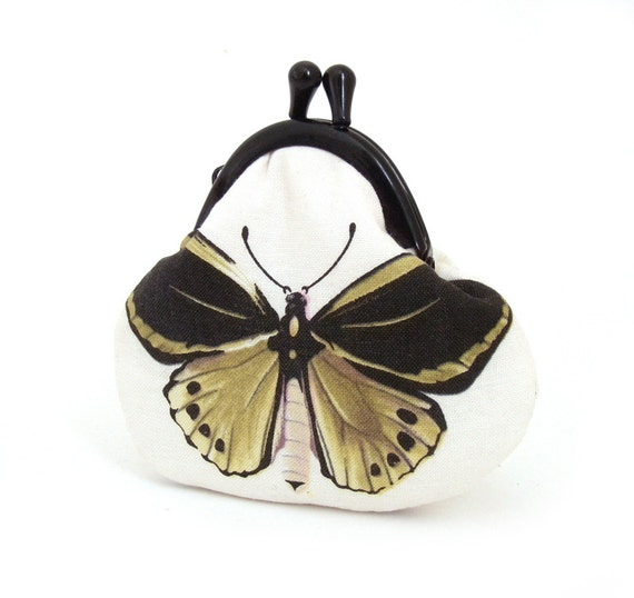 Coin purse, small silk-lined pouch, pocket purse, silk-lined, BUTTERFLY COLOGNE