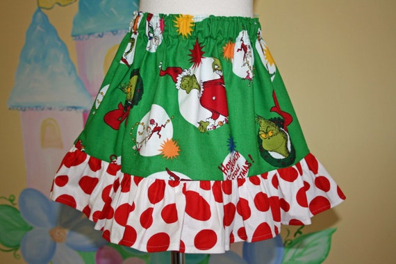 Custom Boutique Grinch Skirt --- Ready to Ship --- Christmas 3/4t