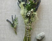 Alternative Eco Friendly Natural Woodland Wedding Bouquet and Grooms Boutonniere