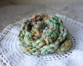 Brooch Pin / Melon Rose Mint Green / Hand Crocheted Hand Beaded Freshwater Pearls / Flower Jewelry Jewellery