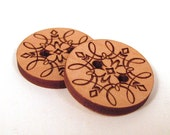 Wooden Buttons - Engraved Laser Cut Scroll Design