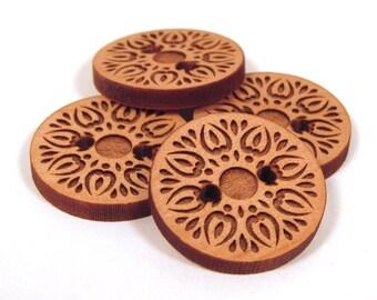 Wooden Buttons - Engraved Laser Cut Sunburst Design