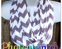 Gray Chevron Scarf, Infinity Scarves, Nursing Cover, fashion accessories, Teen Scarf, Women's Scarf, Gray Cotton/Rayon Blend, Phatcatpatch
