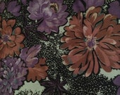 Beautiful Black, Purple and Pink Floral Print Fabric - 4 1/8 Yards
