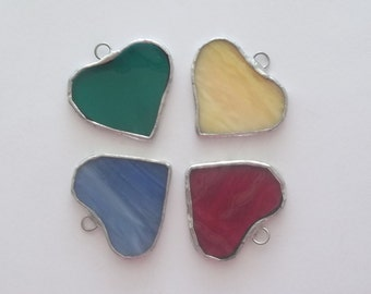 Heart favors stained glass colored hearts set of 4 little heart ornaments or favors