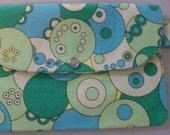 SALE Green Retro Circles Print Clutch Purse Polka Dots
