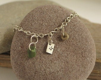 Beach Glass, Crinoid Fossil and Star - Handmade Sterling Silver Chain Bracelet