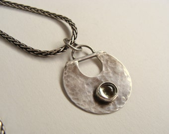 Tourmaline Silver Oxidized Handforged Pendant Necklace