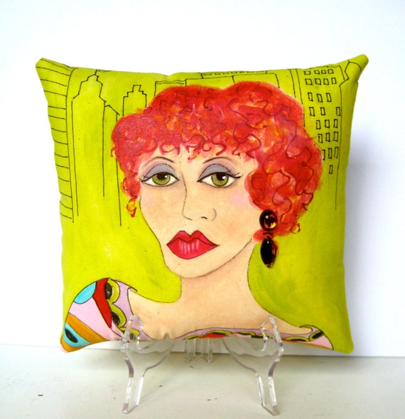 KATHARINE NEW YORK woman Pillow, Hand Painted Pillow, Fun Quote, New York Woman, decorative pillow, acid green, gift for city woman