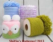 KNITTING PATTERN For 4 Toilet Roll Covers Tissue Cover Topper Owl PDF 256 Digital Download