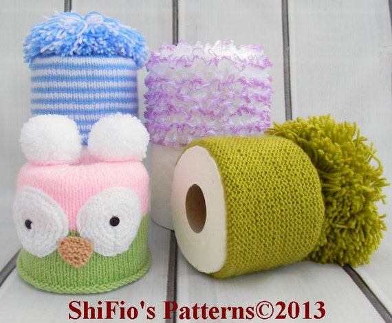 Knitting Pattern For 4 Toilet Roll Covers Tissue Cover Topper