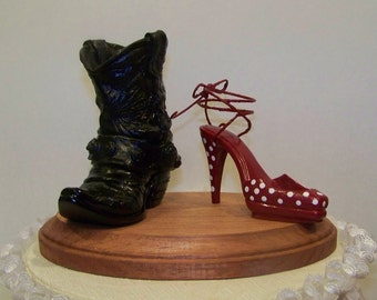 Wedding Cake Topper-Black Western Cowboy Boot with Red Polka Dot Stilleto-Grooms Cake Topper