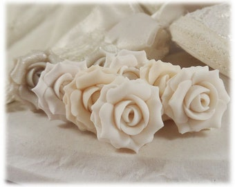 White Rose Earrings Stud or Clip On - White Rose Jewelry, White Flower Earrings