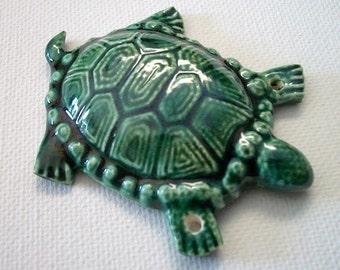 Ceramic Land Turtle Pendant or Ornament