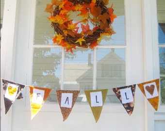 Fall Autumn Fabric Pennant Flag Stamped Banner Bunting