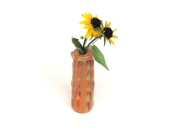 Ceramic Bud Vase Stoneware Orange Green Ceramic Pottery for Single Stem
