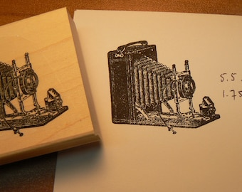 photo camera rubber stamp WM vintage style P6