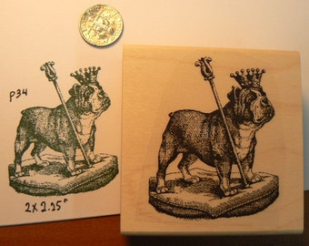 Royal bulldog rubber stamp Wood Mounted P34