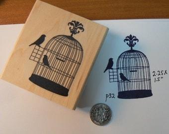 """Birdcage rubber stamp WM 2.25x1.5"""" P32"""