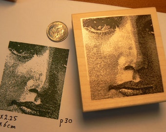 Woman's face rubber stamp P30