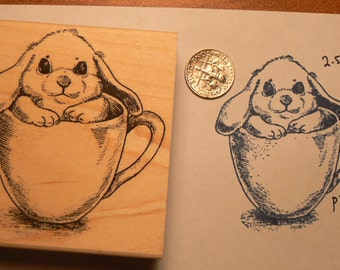 Teacup bunny rubber stamp P19