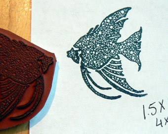 Angel fish Cling Mounted rubber stamp