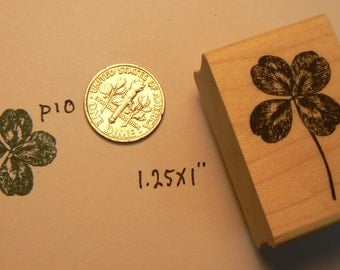 4 leaved clover rubber stamp WM P10