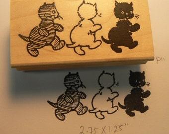 3 vintage kittens rubber stamp WM p11