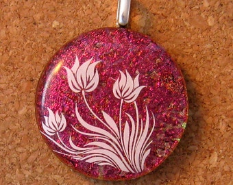 Dichroic Floral Pendant Fused Glass Pendant Fused Glass Jewelry Dichroic Jewelry Glass Pendant