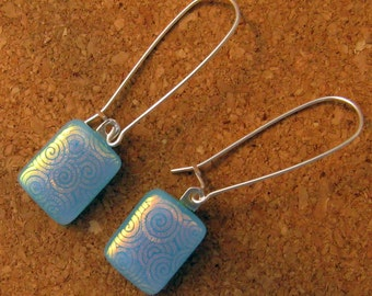 Blue Dichroic Fused Glass Earrings Glass Earrings Dichroic Jewelry Fused Glass Earrings