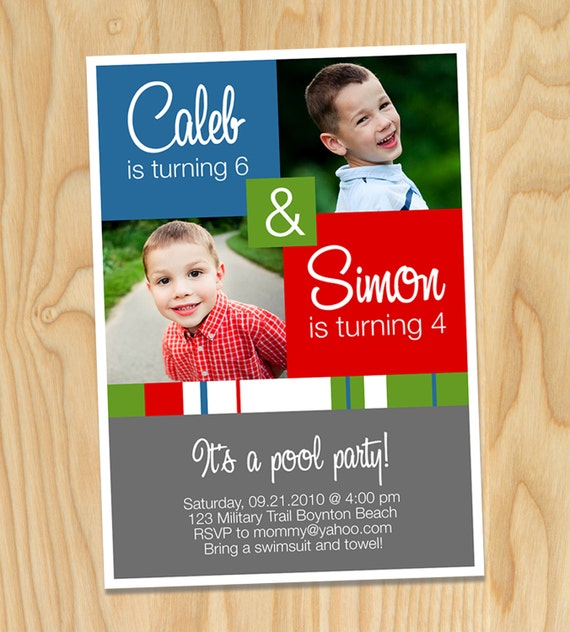 Joint Birthday Boxes - Custom Printable Photo Birthday Party Invitation Cards, Invites for Boy or Girl
