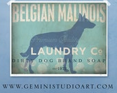 Belgian Malinois laundry dog company laundry room artwork giclee archival signed artists print by Stephen Fowler Pick A Size
